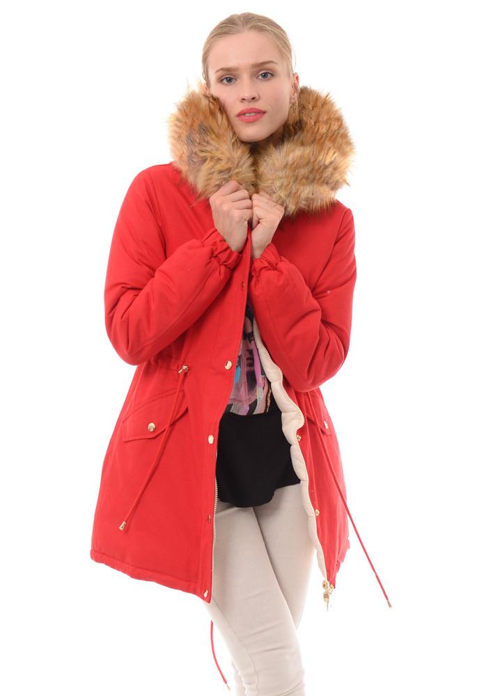 kurtka zimowa damska malinowa